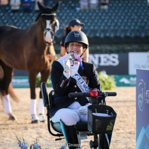 Roxie at the medal ceremony at the 2018 FEI World Equestrian Games in Tryon, NC. Behind her is Dolton and his groom Kjersten Lance. Photo: Annan Hepner