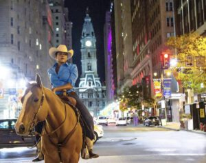 The Concrete Cowgirl – Erin Brown (Riding Kidd in Center City Philadelphia) Photographer: Ricky Codio